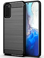 cheap -case for samsung galaxy s20 phone,galaxy s20 case 6.2 inch,tpu shock absorption technology full protective case carbon fiber cover for galaxy s20 smartphone (black)