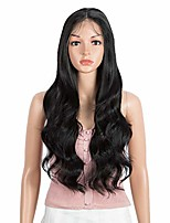 "cheap -lace front with 4""x4"" simulated scalp wig 26'' long body wave free part heat resistant synthetic wigs with baby hair for black women 130% density(black color)"