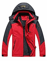 cheap -women softshell jacket, 3 in 1 waterproof mountaineering jackets with fleece thick warm outdoor hooded coat camping hiking skiing travel windproof coat (red)