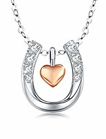 cheap -lucky horseshoe necklace gifts for cowgirls women girls 925 sterling silver rose gold heart love you horseshoe pendant necklace jewelry for her