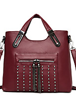 cheap -Women's Bags PU Leather Leather Satchel Top Handle Bag Beading Tassel Handbags Daily Outdoor Black Red