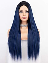 cheap -long ombre blue wig with middle parting blue long straight wig ombre synthetic wigs for women