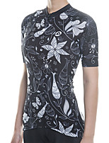 cheap -21Grams Women's Short Sleeve Cycling Jersey Cotton Black Floral Botanical Bike Jersey Top Mountain Bike MTB Road Bike Cycling Breathable Quick Dry Reflective Strips Sports Clothing Apparel / Stretchy