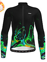 cheap -21Grams Men's Long Sleeve Cycling Jersey Winter Fleece Green Bike Top Mountain Bike MTB Road Bike Cycling Fleece Lining Warm Sports Clothing Apparel / Stretchy / Athleisure