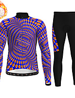 cheap -21Grams Men's Long Sleeve Cycling Jersey with Tights Winter Fleece Polyester Purple Bike Clothing Suit Thermal Warm Fleece Lining Breathable 3D Pad Warm Sports Graphic Mountain Bike MTB Road Bike