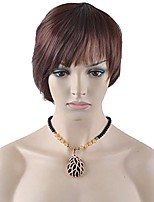 cheap -short straight tousled style synthetic wig natural as real hair + free wig cap/free comb (wine brown)
