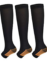 cheap -3pairs copper open toe toeless compression socks(15-20mmhg) for men and women support stocking(black, s/m)