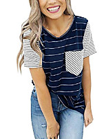 cheap -short sleeves t shirt for women - women's striped cotton casual tops for summer with contrast color navy