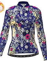 cheap -21Grams Women's Long Sleeve Cycling Jersey Winter Fleece Polyester White Blue Pink Floral Botanical Christmas Bike Jersey Top Mountain Bike MTB Road Bike Cycling Fleece Lining Warm Quick Dry Sports