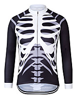 cheap -21Grams Men's Long Sleeve Cycling Jersey Polyester Black / White Skull Bike Jersey Top Mountain Bike MTB Road Bike Cycling UV Resistant Breathable Quick Dry Sports Clothing Apparel / Stretchy