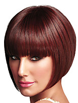cheap -Synthetic Wig kinky Straight Bob Wig Short Burgundy Synthetic Hair Women's Soft Adorable Fluffy Burgundy