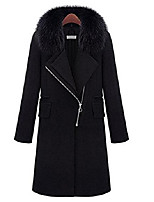cheap -womens long coat overcoat faux fur collar winter fall warm thicken large size (5xl, black3)