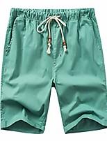 cheap -men straight shorts summer linen cotton solid color beach casual elastic waist classic slim cargo pants mint green xl