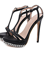 cheap -Women's Heels Stiletto Heel Open Toe Casual Sexy Daily Walking Shoes PU Solid Colored White Black