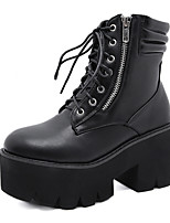 cheap -Women's Boots Chunky Heel Round Toe Daily Walking Shoes PU Lace-up Solid Colored Black / Mid-Calf Boots