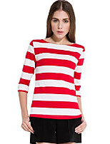 cheap -women's slim fit 3/4 sleeves cotton stripe tee shirts (x-small, white red)