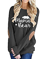 cheap -womens casual loose t-shirts long sleeve crew neck mama bear tops blouse black xxl