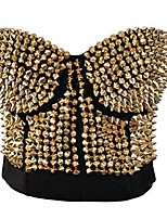 cheap -women steampunk rivets studded bustier hook&eye back shapewear gold-xl