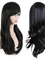 cheap -Womens Heat Resistant 28-Inch 70cm Long Curly Hair Wig with Wig Cap Black