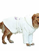 cheap -pet bathrobe towel, dog bath robe super absorbent fast drying towel hooded white coat for puppy small medium large dog (30)