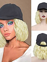 cheap -baseball cap wig with hair extensions short curly wavy natural bob wig adjustable baseball hat with synthetic hair heat resistant