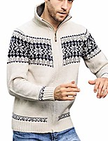cheap -landscap men's fashion knitted cardigan sweater zip up slim fit stand collar sweaters vintage stripe coat(beige,xxxl)