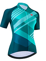 cheap -Women's Short Sleeve Cycling Jersey Green Bike Top Mountain Bike MTB Road Bike Cycling Breathable Quick Dry Sports Clothing Apparel / Stretchy / Athletic