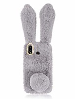 cheap -fluffy bunny ear phone case for samsung galaxy a20/a30, light grey soft rabbit fur cover with sparkly diamond, anti-shock tpu phone shell protective case, cute plush case for girl friends