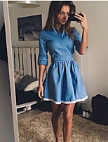 cheap -Women's Denim Shirt Dress Short Mini Dress - 3/4 Length Sleeve Solid Color Lace Lace up Fall Winter Casual 2020 Blue S M L XL
