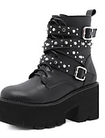 cheap -Women's Boots Chunky Heel Round Toe Booties Ankle Boots Daily Walking Shoes PU Rivet Buckle Lace-up Solid Colored Black / Mid-Calf Boots