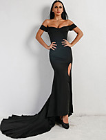 cheap -Mermaid / Trumpet Sexy bodycon Prom Formal Evening Dress Off Shoulder Sleeveless Court Train Spandex with Split 2020