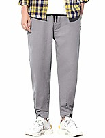 cheap -joggers for men,solid casual drawstring waist button closure straight-fit jogger long pants summer sweatpants gray