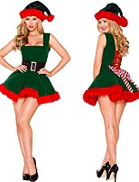 cheap -Santa Suit Costume Adults' Women's Christmas Christmas Festival Christmas Halloween Festival / Holiday Polyester Velour Green Women's Easy Carnival Costumes Solid Color / Dress / Hat