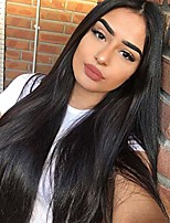 cheap -long straight black wigs for women synthetic black wig middle part hairline natural looking daily party wear full wig 28 inches heat resistant fiber hair(1b)