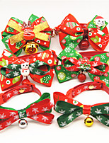 cheap -Dog Cat Collar Christmas Dog Collar Tie / Bow Tie With Bell Adjustable Flexible Outdoor Santa Claus Snowman Christmas Tree Nylon Golden Retriever Corgi Bulldog Bichon Frise Schnauzer Poodle Bronze