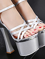 cheap -Women's Dance Shoes Pole Dancing Shoes Heel Thick Heel Black Silver Buckle Adults'