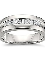 cheap -1/2 cttw, 14k white gold baguette & round diamond men's comfort fit wedding band ring (1/2 cttw, h-i, si1-si2), size 10