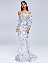 cheap -Mermaid / Trumpet Sexy Sparkle Prom Formal Evening Dress Off Shoulder Long Sleeve Sweep / Brush Train Spandex Sequined with Sequin 2020