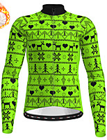 cheap -21Grams Men's Long Sleeve Cycling Jersey Winter Fleece Polyester Yellow Red Blue Christmas Bike Jersey Top Mountain Bike MTB Road Bike Cycling Fleece Lining Warm Quick Dry Sports Clothing Apparel