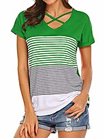 cheap -women's short sleeve and long sleeve round neck triple color block stripe casual blouse short sleeve casual cold shoulder green