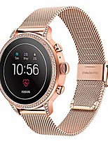 cheap -band for fossil women's gen 4 venture hr/gen 3 q venture, 18mm mesh woven stainless steel watchband quick release strap for fossil women's gen 4 sport/ticwatch c2 rose gold