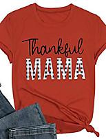 cheap -thankful mama t shirt women cute plaid funny letter print mom tops tees casual short sleeve vacation shirts tops (red, medium)