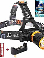 cheap -led diving headlamp 5 modes waterproof led headlamp underwater flashlight torch light camping diving hiking cycling fishing lamp with rechargeable battery and charger (black)