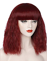 cheap -wine red wigs for women short fluffy curly wavy bob hair wig with bangs synthetic fashion cute cosplay wigs for party halloween s073wr1