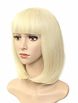 cheap -colorful cosplay party daily synthetic short bob  with bangs straight black blonde pink hair s heat resistant hair s for black women (blonde)