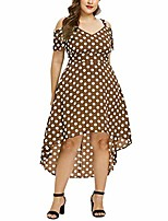 cheap -plus dresses clearence!!! limsea women plus size v-neck casual short sleeve pots printed cross dress coffee