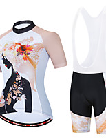cheap -Women's Long Sleeve Cycling Jersey with Shorts White Black / White Bike Moisture Wicking Sports Geometic Clothing Apparel / Micro-elastic / Athleisure