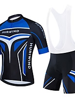 cheap -Men's Short Sleeve Cycling Jersey Cycling Jersey with Bib Shorts Cycling Jersey with Shorts Black Blue Black / White Bike Breathable Quick Dry Sports Graphic Mountain Bike MTB Road Bike Cycling