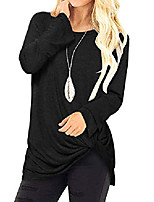 cheap -women top blouse long sleeves shirts causal round neck ruffle crossed front knot solid t-shirt tunics black xl