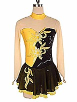 cheap -ice skating dress women girl sequins long sleeved skating wear (color : yellow, size : child16)